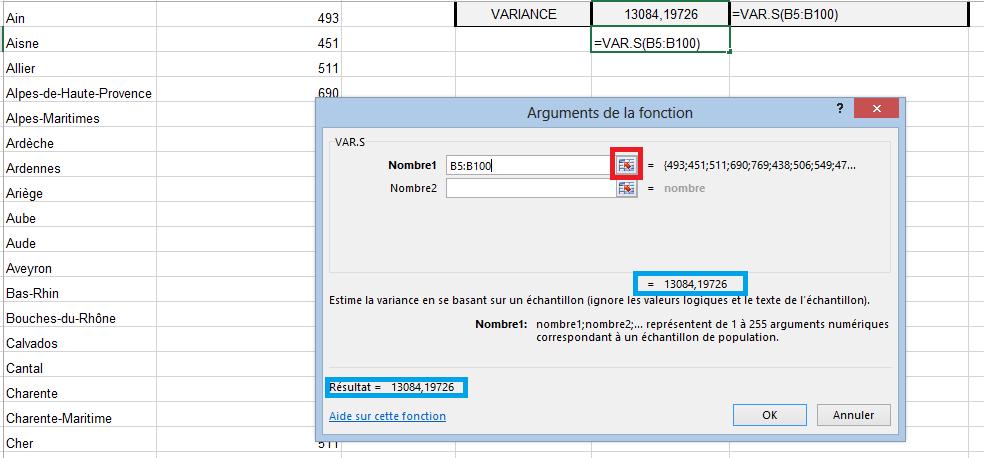 Fonction VAR.S Excel