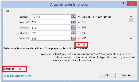 calcul du nombre de valeurs dans s u00e9lection excel  fonction nb