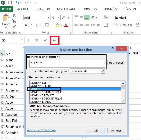 Sélectionner la formule Moyenne Excel