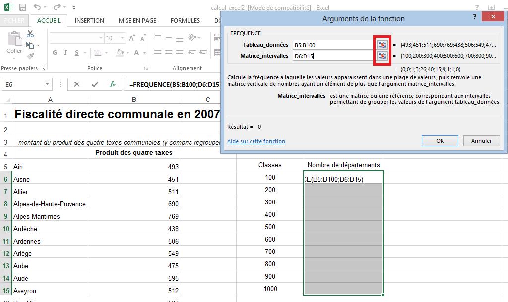 Utiliser la fonction fréquence Excel
