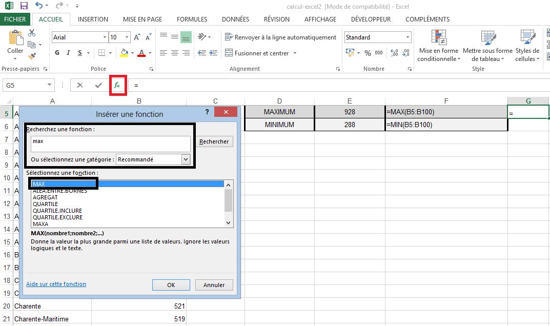Utiliser fonction Maximum Excel