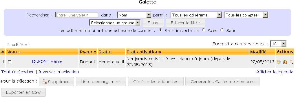 Adhérents Galette