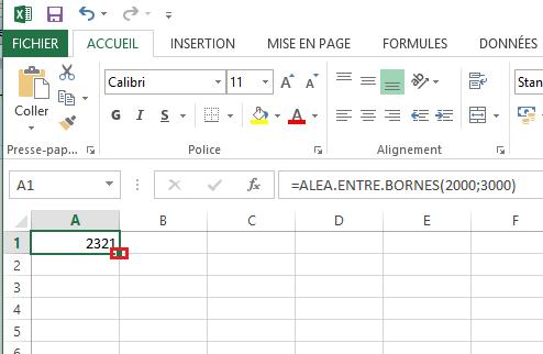 Chiffre aléatoire Excel