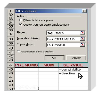 Créer un filtre Excel