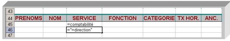 Critères sélection Excel