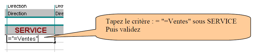 Critères Excel