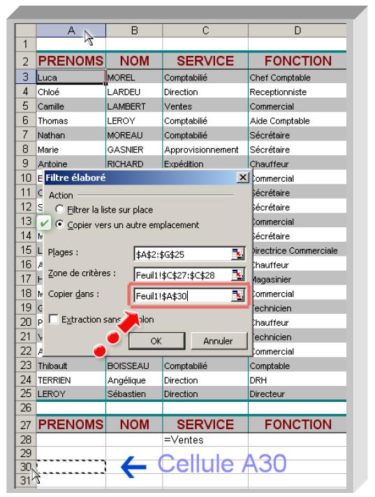 Filtrage Excel