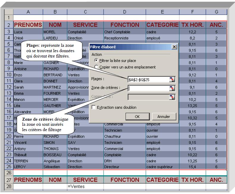 Filtre avancé Excel