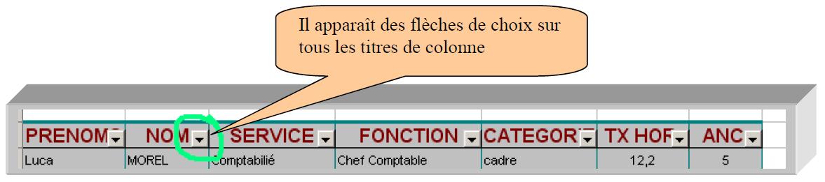 Filtre colonne Excel