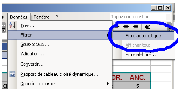 Filtre dans Excel