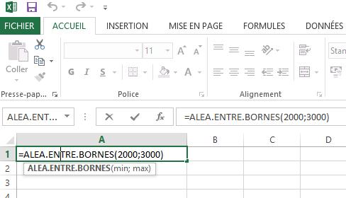 Fonctions aléatoires Excel