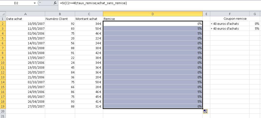 Fonction SI résultat dans Excel