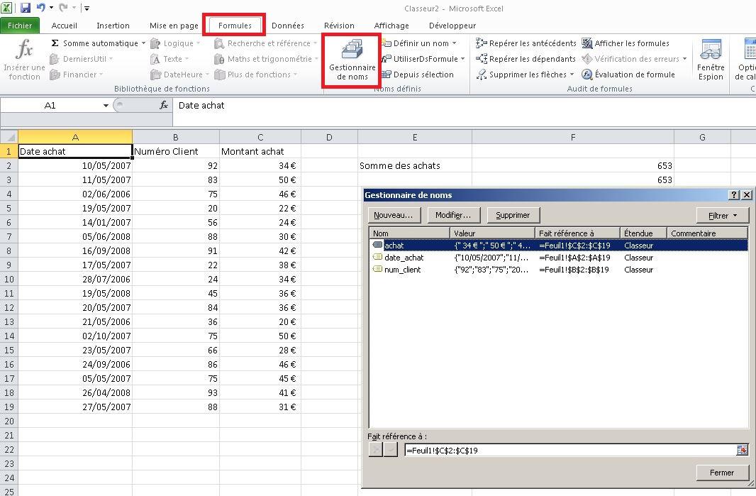 Gestionnaire de nom Excel