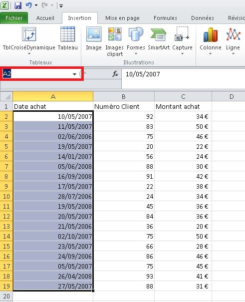 Modifier le nom d'une plage Excel