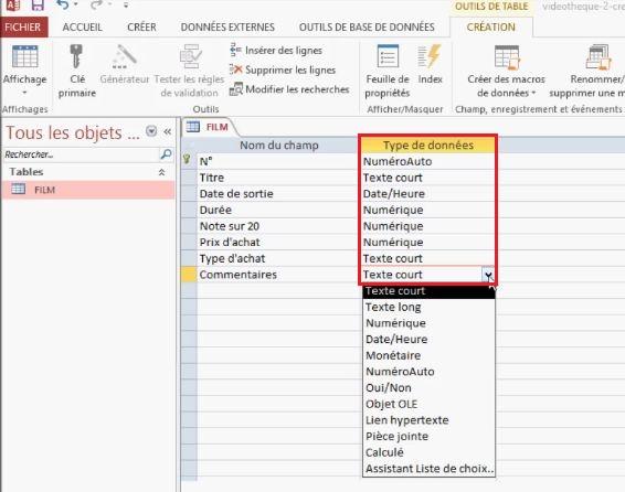 Modifier les types de données des tables
