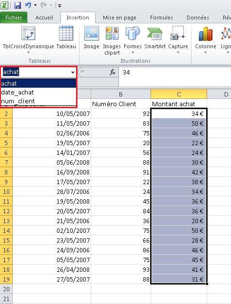 Noms des plages Excel
