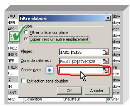 Nouveau filtre élaboré Excel