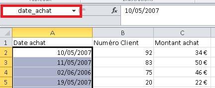 Renommer la plage Excel