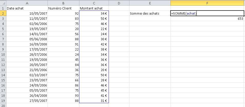 Résultat d'attribution du nom des plages Excel