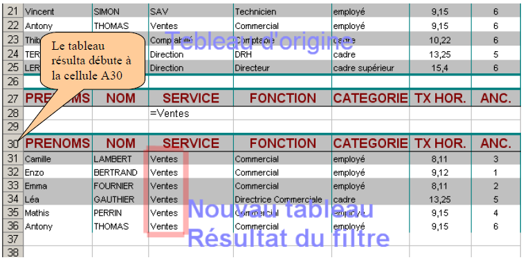 Résultat filtrage Excel