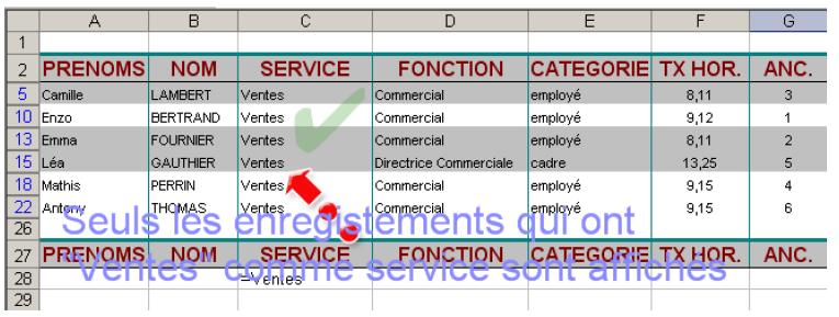Résultat filtre Excel