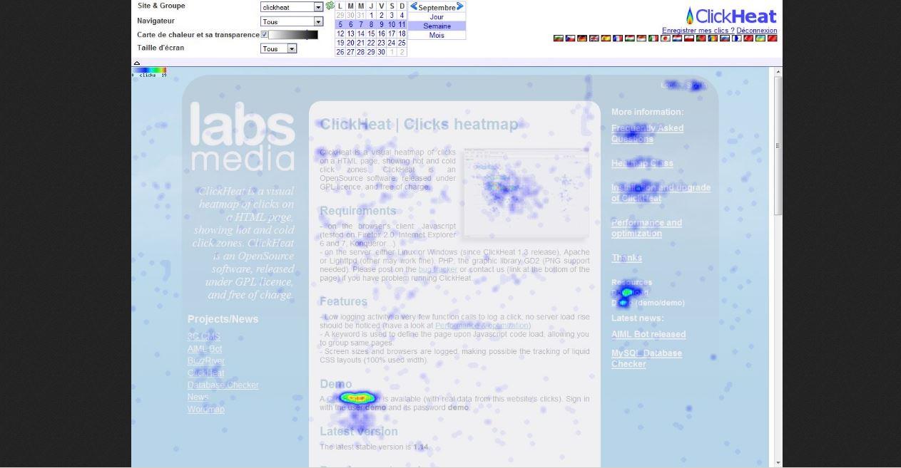Zone de clics dans ClickHeat