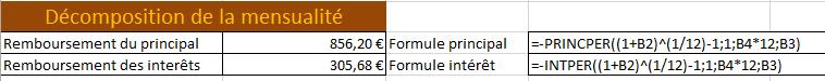 Formule PRINCPER - Calcul de prêt Excel