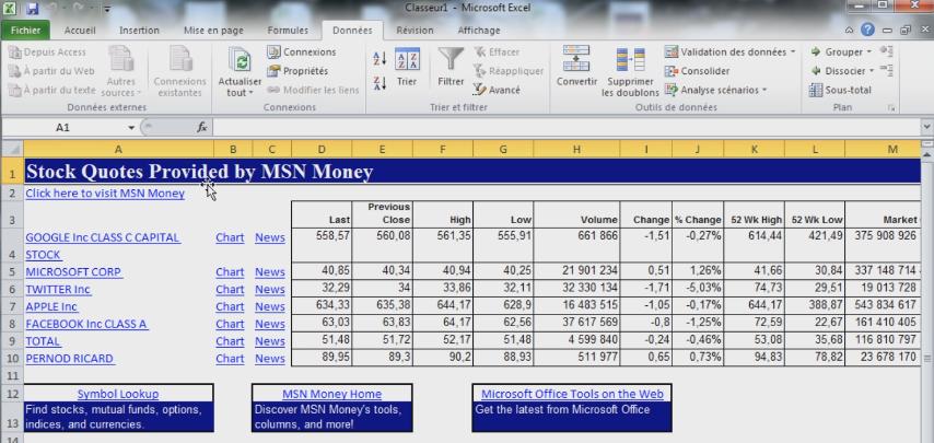 Bourse dans Excel