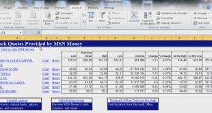 Cours de bourse dans Excel