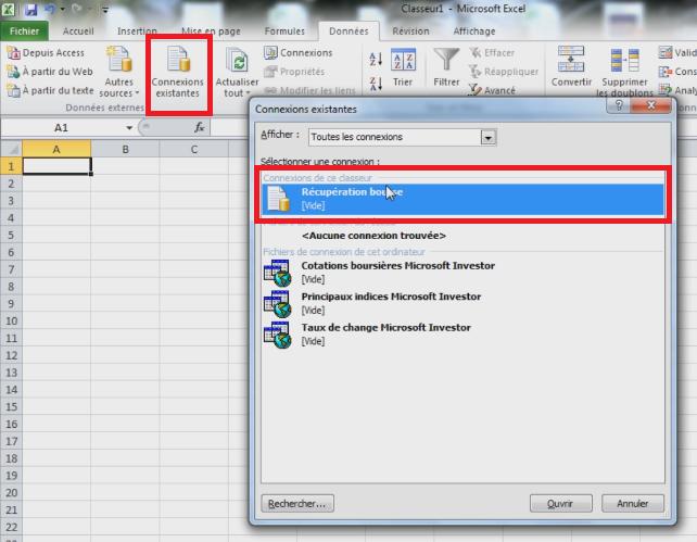 Insérer une connexion de bourse dans Excel