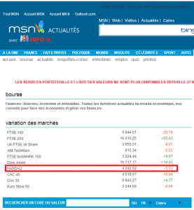 Page de bourse de MSN