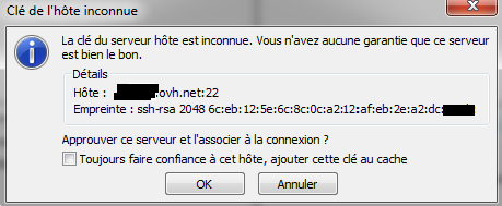 Authentification de connexion SFTP