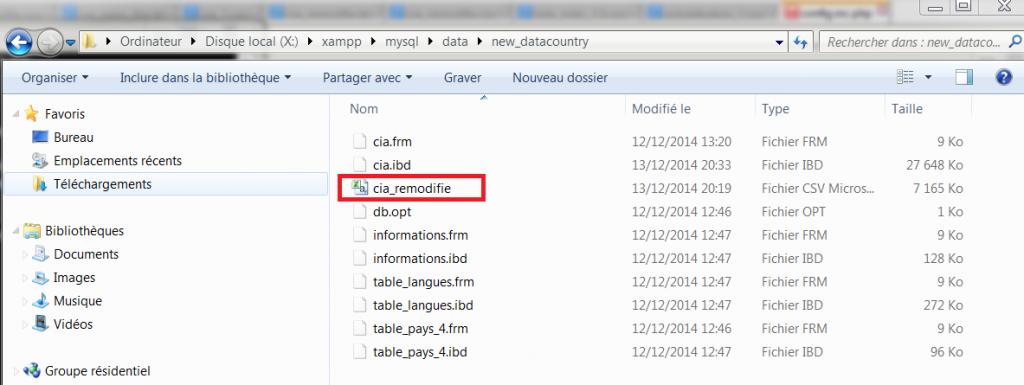 Fichier CSV dans MySQL