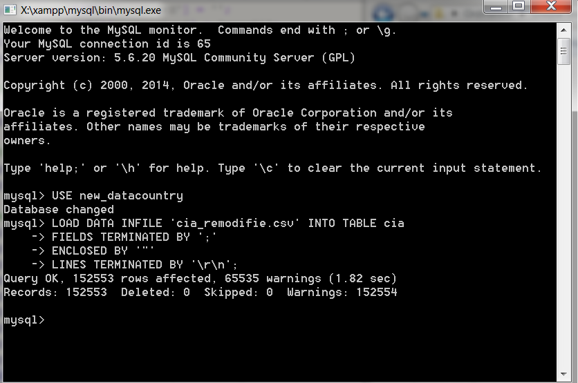 Importer un fichier CSV dans MySQL