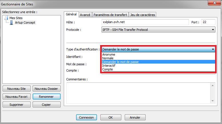 Mot de passe pour une connexion SFTP