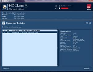Etape 1 pour cloner un disque dur