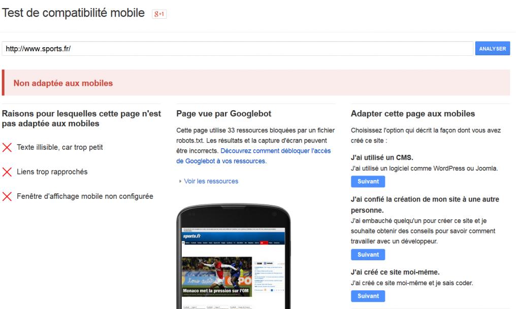 Site non adapté aux téléphones mobiles