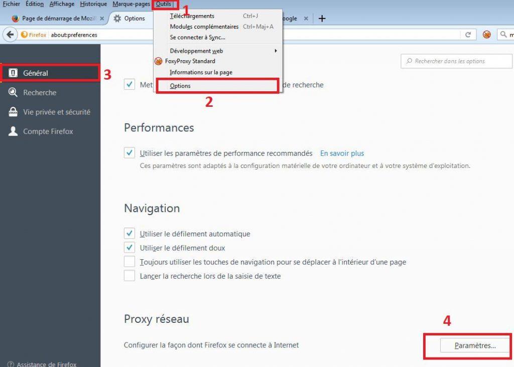 Options proxy dans Mozilla Firefox