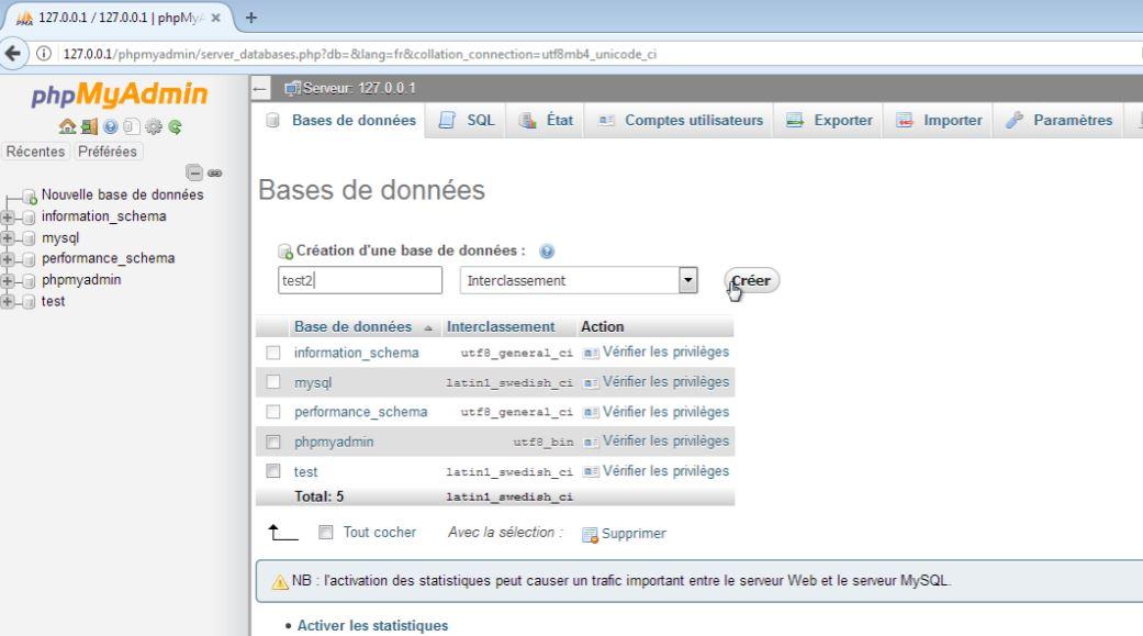 Base de données de Xampp