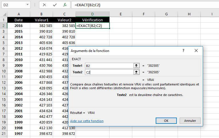 Cellules sélectionnées avec la fonction Exact de Excel