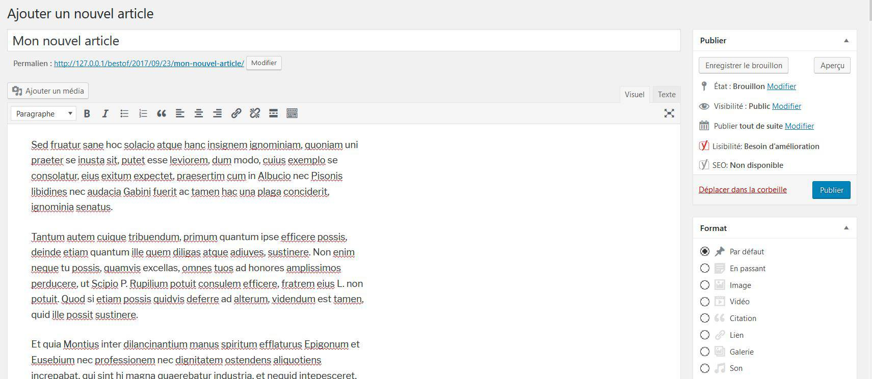 Création d'article dans WordPress