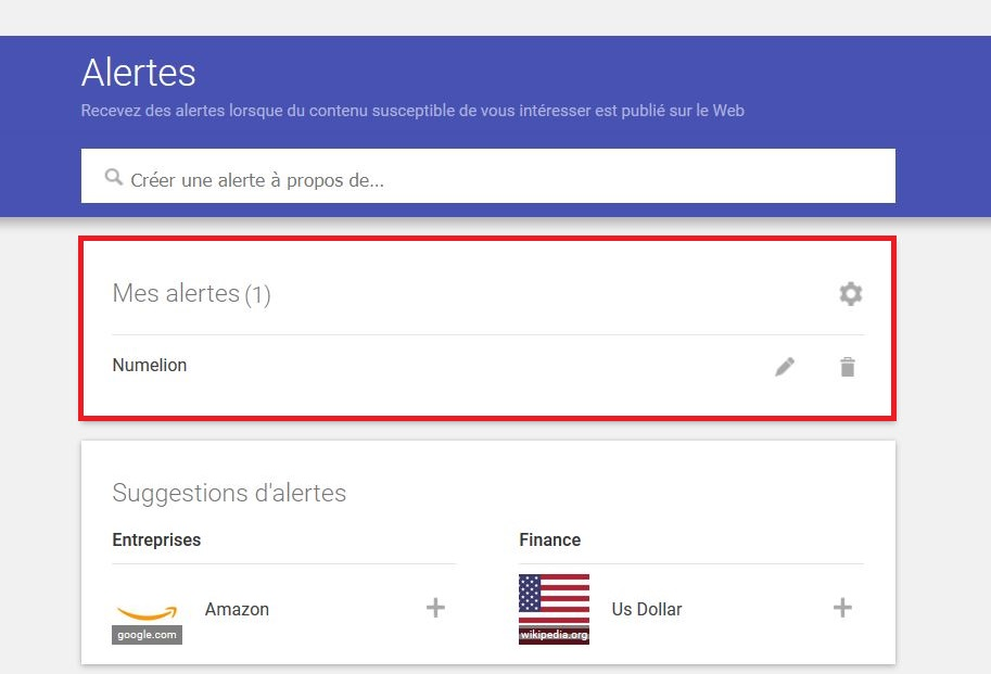 Créer une alerte dans Google Alertes