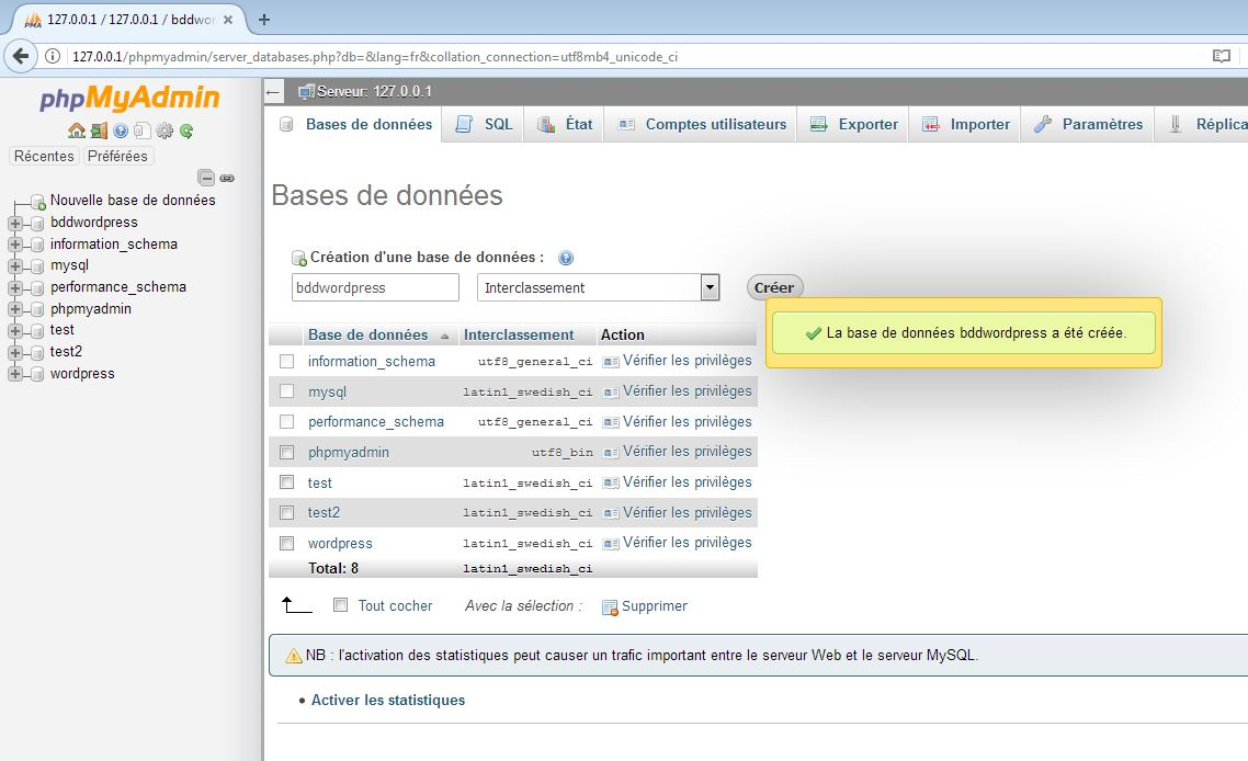 Créer une base de données pour installer WordPress