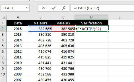 Fonction EXACT dans Excel