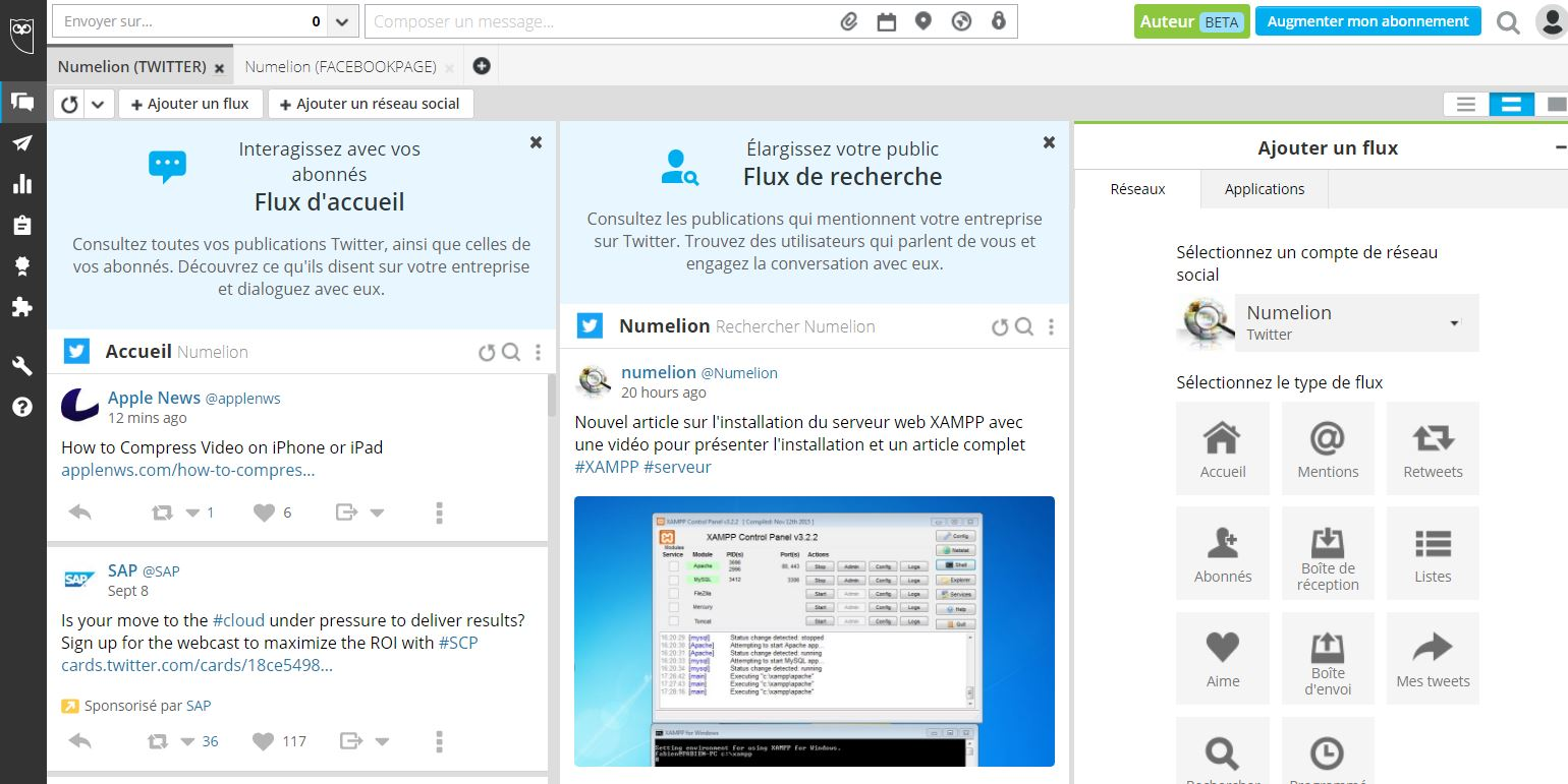 Interface de Hootsuite