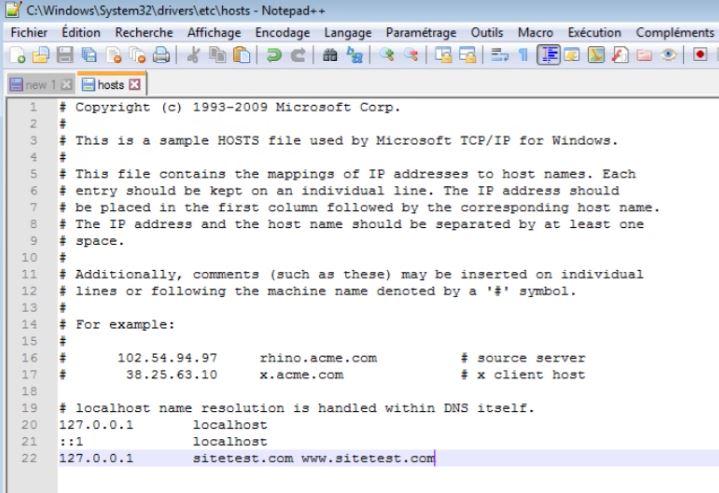Modifier le fichier Host