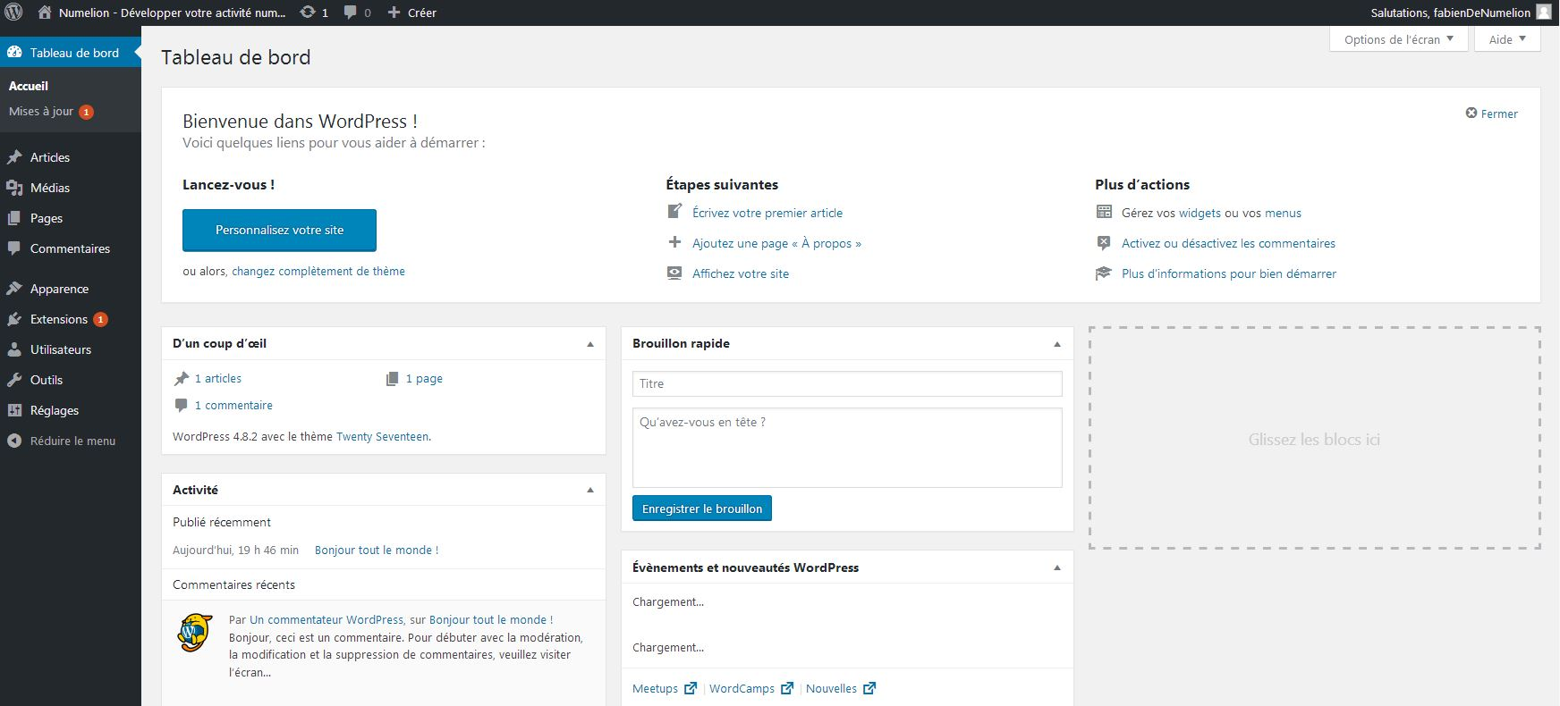 Panneau d'administration de WordPress