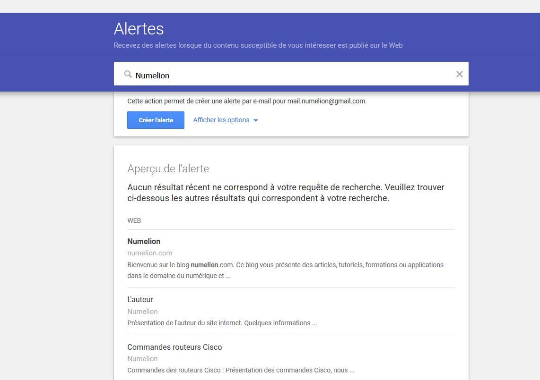 Recherche avec Google Alertes