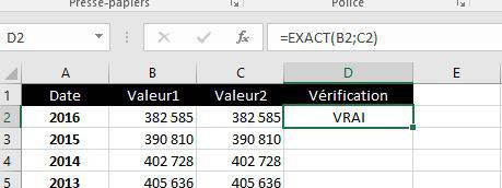 Résultat avec la fonction Exact dans Excel