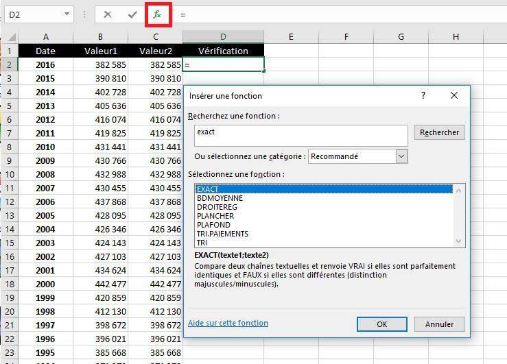 Utiliser la fonction Exact pour comparer des cellules Excel
